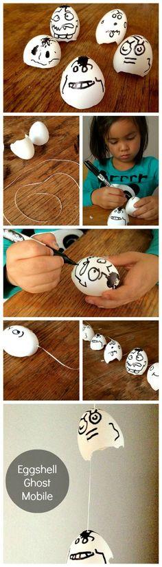 Eggshell Ghost Mobile #DIY
