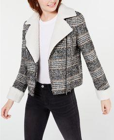 Maralyn & Me Juniors' Faux-Shearling-Trim Moto Jacket - Black/white Plaid Jacket, Moto Jacket, Jacket Style, Coats For Women, Jackets For Women, Cold Weather Fashion, Zara Fashion, Plus Size Designers, Plus Size Shopping