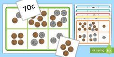 Money Bingo to 1 Dollar Using coins Money Bingo, Money Games, Class Activities, Hands On Activities, Teaching Money, One Dollar, Classroom Displays, Year 2, Numeracy