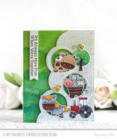 Farm Friends Stamp Set and Die-namics, Denim Background, Stitched Triple Peek-a-Book Window & Edge Die-namics, Stitched Sentiment Strips Die-namics, Grassy Hills Die-namics, Blueprints 25 Die-namics - Yoonsun Hur  #mftstamps