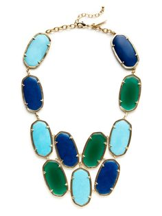 Kendra Scott   14K yellow gold plated brass and multi-stone geometric bib drop necklace