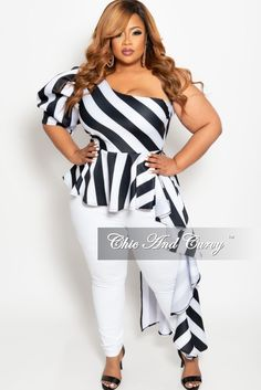 0a0811ba Final Sale Plus Size One Sided Asymmetrical Top in Black and White Str –  Chic And. Chic And Curvy