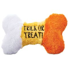 Sweet treats on spooky nights are just what the Halloween Bootique Candy Corn Crackle Dog Bone is for. This festive plush dog toy is great for cozy cuddles or nighttime romps.