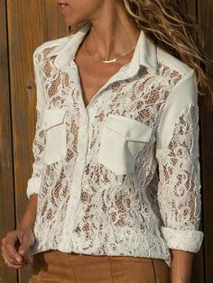 Fashion Lace See-Through Long Sleeve blouses