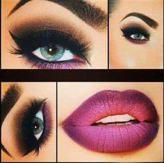 Eyes and lips makeup, strong but beautiful