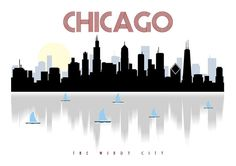 Chicago skyline, Chicago art, Chicago poster, city scape, wall decor, Skyline poster, Chicago print, The Windy City  Modern and contemporary Chicago