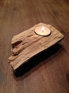 Candlestick – natural wood candlestick for 1 tealight – a … – Lighting Ideas Jam Jar Candles, Tea Light Candles, Tea Lights, Sea Crafts, Light Crafts, Wood Crafts, Lantern Candle Holders, Candle Stand, Theme Noel