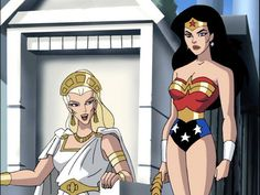 Hypolite and Wonder Woman Amazon Queen, Daughter Of Zeus, Queen Esther, Justice League Unlimited, Gods And Goddesses, Disney Animation, Archetypes, First Night, Princess Zelda