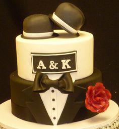Double Top Hat Wedding Cake