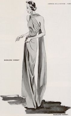 The French designer Madeleine Vionnet made popular the halter neck and the cowl neck...queen of evening gowns.