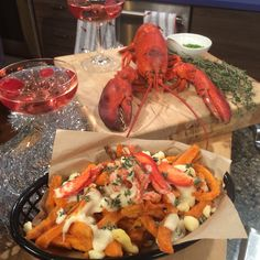 A rich Gruyere cheese sauce with fresh lobster over sweet potato fries! Fresh Lobster, Gruyere Cheese, Poutine, Cheese Sauce, Seafood Recipes, Sweet Potato, Shrimp, Eve, Fries