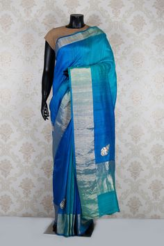 Ink #blue & shimmer #gold tussar silk delicate #saree with #shimmer gold border -SR11915