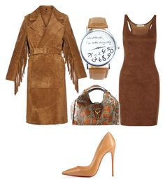 """""""feeling brown"""" by belanda-dee on Polyvore featuring Halston Heritage, Christian Louboutin, Gucci and Burberry"""