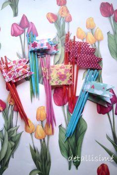 Banderitas de colores con diferentes estampados. (10 centímetros) Pedidos: ettura@yahoo.es