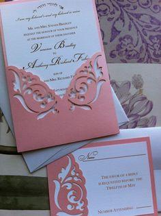 Wedding Invitation Laser Cut elegant damask by CelineDesigns