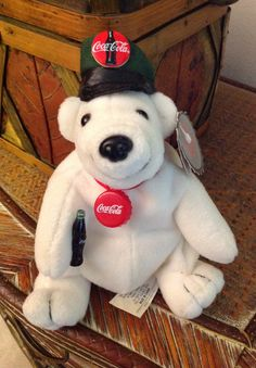Coca Cola Polar Bear Plush Logo Advertising Coke Collectible Stuffed Animal  Rare Memorabilia Souvenier Coke Memorabilia Beanie Baby Bear da438ca90cbc