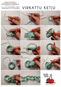 podkins:  mollamills:  This is how yarn chain is made, simple technique and the result looks super cool.   Very cool reblog from Molla Mills.  Love it!: