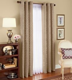 Better Homes and Gardens Diamond Jacquard 84 inch Curtains, Set of Beige Window Panels, Panel Curtains, Curtains Walmart, Bookcase Styling, Sliding Glass Door, Better Homes And Gardens, Home Goods, Family Room, Sweet Home