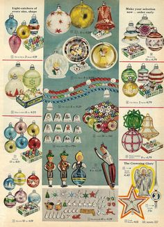 Ornaments in Sears Christmas Catalog, 1958