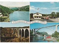 Halden Svinesundbroen mellom Norge Sverige 4-bildskort 1967
