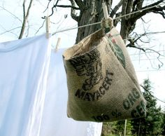 tutorial on making a burlap peg bag for an outdoor clothesline by Maya Donenfeld of Reinvention @Apartment Therapy
