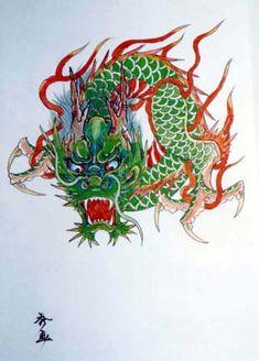 modles tatouage japonais dragon - Coloration Phmre