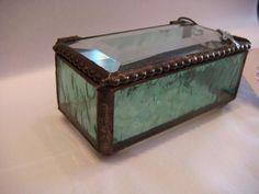 Jewelry Box For Girls Teens Women Keepsake Trinket Boxes Beveled Glass Dragonfly