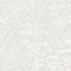 Grazia - Scandinavian design wallpaper by Stig Lindberg from the Scandinavian Designers collection - Boråstapeter. Online in USA and Canada Floral Print Wallpaper, Lit Wallpaper, Botanical Wallpaper, Embossed Wallpaper, Wallpaper Panels, Floral Prints, Color Beige Claro, Stig Lindberg, White Plants