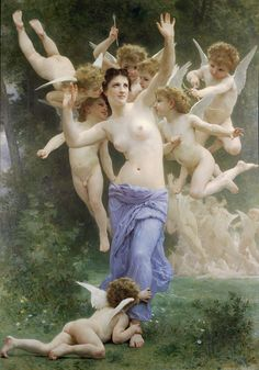 """Le Guêpier"".  (1893). (by William-Adolphe Bouguereau)."