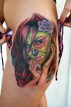 Sugar Skull Girl (hip) #tattoo #ink #body art - http://dunway.biz