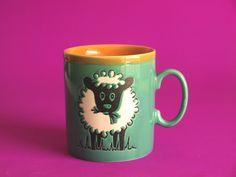 Retro Vintage Just Mugs Sheep or Lamb on a Farm Mug - Retro 70s Sheep Baa Baa Mug - Made in England by FunkyKoala on Etsy