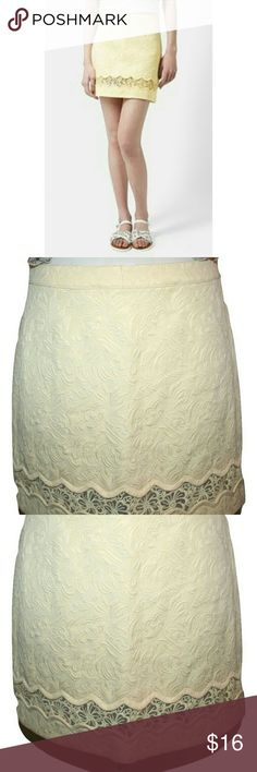"""Topshop Scalloped Insert A-line Mini Skirt Playful scalloping frames the sheer lace inset of an A-line mini skirt textured with jacquard woven flowers, in a cool lemon hue.  Unlined.  67% cotton 33% polyester  Machine washable   Marked size 8 Waist 31"""" Hips 40"""" Length 16 1/2"""" Topshop Skirts Mini"""