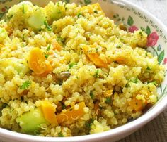 Mango quinoa salad with cucumber, almond, pumpkin seeds, and a zesty lime dressing. from http://www.savvyvegetarian.com/vegetarian-recipes/mango-quinoa-salad.php