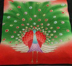"""Set of Two  Cushion Pillow Cover Japanese Vintage Kimono Obi Fabric Peacock Green Orange 18""""x18"""""""