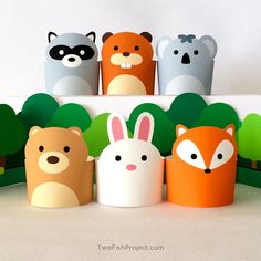 Pretend Play Toys for Kids, Paper Craft Animals, DIY Forest Animals Playset, Woodland Creatures, Printable Paper Puppets/Toys Dollhouse PDF - Basteln Toilet Paper Roll Crafts, Paper Crafts For Kids, Diy Crafts For Kids, Diy Paper, Kids Diy, Craft Kids, Free Paper, Craft Work, Paper Puppets