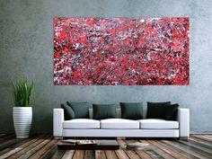 Abstraktes Acrylbild modern rot 100x200cm von xxl-art.de
