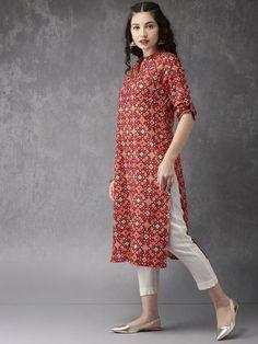 Anouk Women Red & Green Printed A-Line Kurta Get upto off on Women's Indian Wear Printed Kurti Designs, Simple Kurti Designs, Kurta Designs Women, Salwar Designs, Kurti Designs Party Wear, Blouse Designs, Pakistani Fashion Casual, Pakistani Dress Design, Indian Designer Outfits