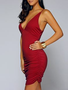 Spaghetti Strap Ruched Club Dress (WINE RED,S) | Sammydress.com