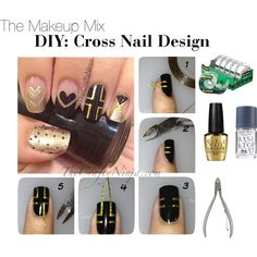 DIY Cross Nails by themakeupmix, via Polyvore