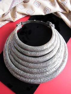 hmong necklace | Huge Hill Tribal Jewelry - Traditional 7-Ring Hmong Torc Necklace