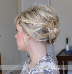 Short hair updo... to use during the 'awkward stage' by Amy Barber