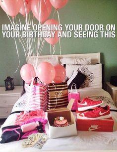 Imagine walking in your room on your birthday Birthday Goals, 22nd Birthday, Birthday Wishes, Girl Birthday, 25th Birthday Ideas For Her, Birthday Month, Birthday List, Romantic Surprise, Surprises For Her