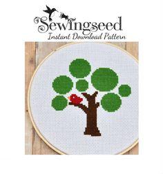 INSTANT DOWNLOAD Circle Tree Cross Stitch Pattern