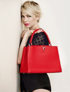 This spring, Michelle Williams is back with new colours available for the ever stylish and timeless Capucines handbag. via Louis Vuitton