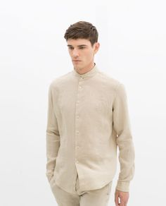 Image 1 of LINEN SHIRT WITH MOCK LAYER COLLAR from Zara