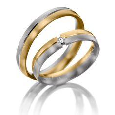 Two Tone 10k White-yellow Gold Satin Low Dome Couples Wedding Bands 0.04 Ctw Round Diamond 4mm 02095