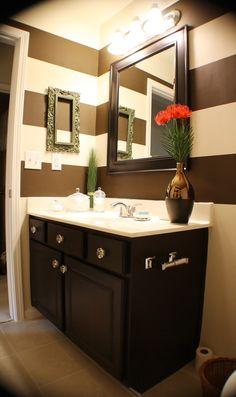 stripes in bathroom, chocolate brown and soft white. I want this!
