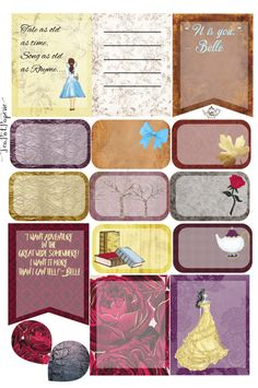 Beauty and the Beast theme Belle planner stickers Mini Kit