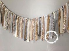 Gold, Silver, Pewter, Champagne & Rose Gold sequin garland banner with Grey, White, Ivory, Cream Fabric -Sparkle - Mantel -Valance by ohMYcharley on Etsy https://www.etsy.com/listing/215057183/gold-silver-pewter-champagne-rose-gold