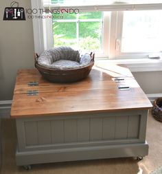 See how I've taken a coffee table with storage from toy box to blanket box in modern farmhouse style. Diy Storage Coffee Table, Diy Storage Bed, Coffee Table Makeover, Diy Table, Cabinet Storage, Smart Storage, Rustic Toy Boxes, Rustic Toys, Rustic Coffee Tables